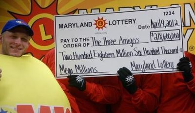 In this photo provided by the Maryland State Lottery Agency, a lottery official, left, and the three anonymous winners of the Maryland portion of the Mega Millions lottery pose for a photo in Baltimore, Monday, April 9, 2012. Maryland Lottery officials say three public school employees are sharing the spoils of the record Mega Millions jackpot. The winning Maryland ticket is one of three nationally that split the $656 million jackpot. (AP Photo/Maryland State Lottery Agency)