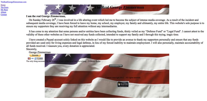 This image made from the website therealgeorgezimmerman.com shows writings by George Zimmerman, who is at the center of an investigation over the shooting of 17-year-old Trayvon Martin. Craig Sonner, attorney for Zimmerman, confirmed April 10, 2012, the authenticity of the website that allows supporters to raise money for Zimmerman. (Associated Press)