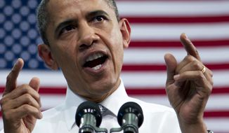 President Obama speaks on April 10, 2012, at Florida Atlantic University in Boca Raton, Fla. (Associated Press)