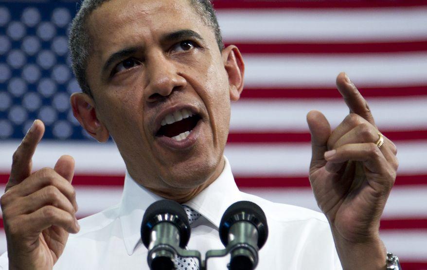 President Obama speaks on April 10, 2012, at Florida Atlantic University in Boca Raton, Fla. (Associated Press)