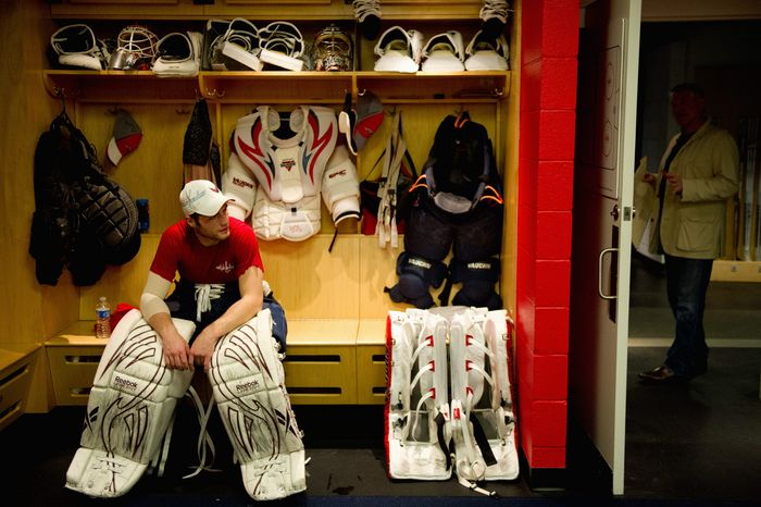 Braden Holtby became the Capitals' starting goalie for the playoffs in the wake of injuries to Tomas Vokoun and Michal Neuvirth. He's 14-4-3 with a 2.02 goals-against average and .929 save percentage in 21 career appearances. (Andrew Harnik/The Washington Times)
