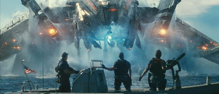 """A menacing alien machine rises from the deep in this scene from """"Battleship."""" The movie-from-a-board-game, which debuted in Europe on Wednesday, has Hollywood betting on a franchise flick featuring aliens invading Earth, pop singer Rihanna and, of course, lots of guns. The Hasbro toy company has high hopes for successful tie-ins, too. (Universal Pictures via Associated Press)"""