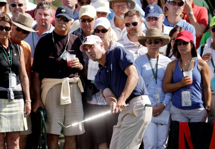Matt Kuchar was in the hunt on the final day of the Masters, but a double bogey on the ninth hole was among the missteps that dropped him from contention. (Associated Press)