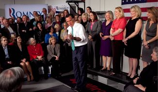 "Mitt Romney argues in Hartford, Conn., on Wednesday that he is the better candidate for women. ""The real war on women is being waged by the president's failed economic policies,"" he said. President Obama won 56 percent of the female vote in 2008. (Associated Press)"