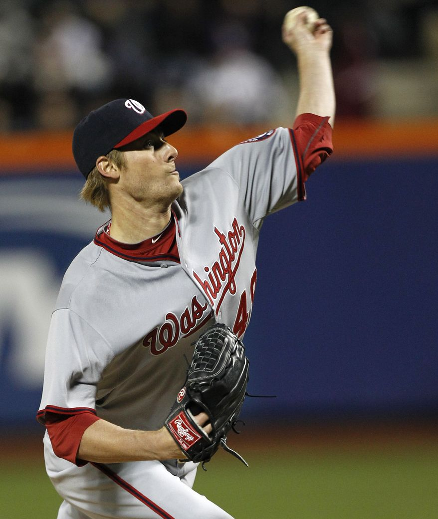 Washington Nationals starting pitcher Ross Detwiler delivers against the New York Mets in the second inning in New York, Tuesday, April 10, 2012. (AP Photo/Kathy Willens)