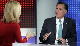 """Republican presidential candidate, former Massachusetts Gov. Mitt Romney is interviewed by Martha MacCallum, co-anchor of """"America's Newsroom"""" on the Fox News Channel in New York, Wednesday, April 11, 2012. On Tuesday, Romney made clear that he would assault Obama's character as well, saying the president is not inept at economic policy, but he actively dislikes business. (AP Photo/Richard Drew)"""