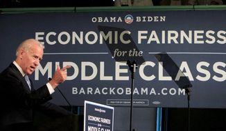 Vice President Joseph R. Biden Jr. speaks at the Town Hall in Exeter, N.H., on Thursday, April 12, 2012. (AP Photo/Jim Cole)