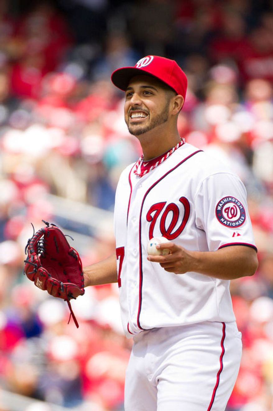 Washington Nationals starting pitcher Gio Gonzalez (47) reacts to a call he disagrees with in the first inning. (Andrew Harnik/The Washington Times)