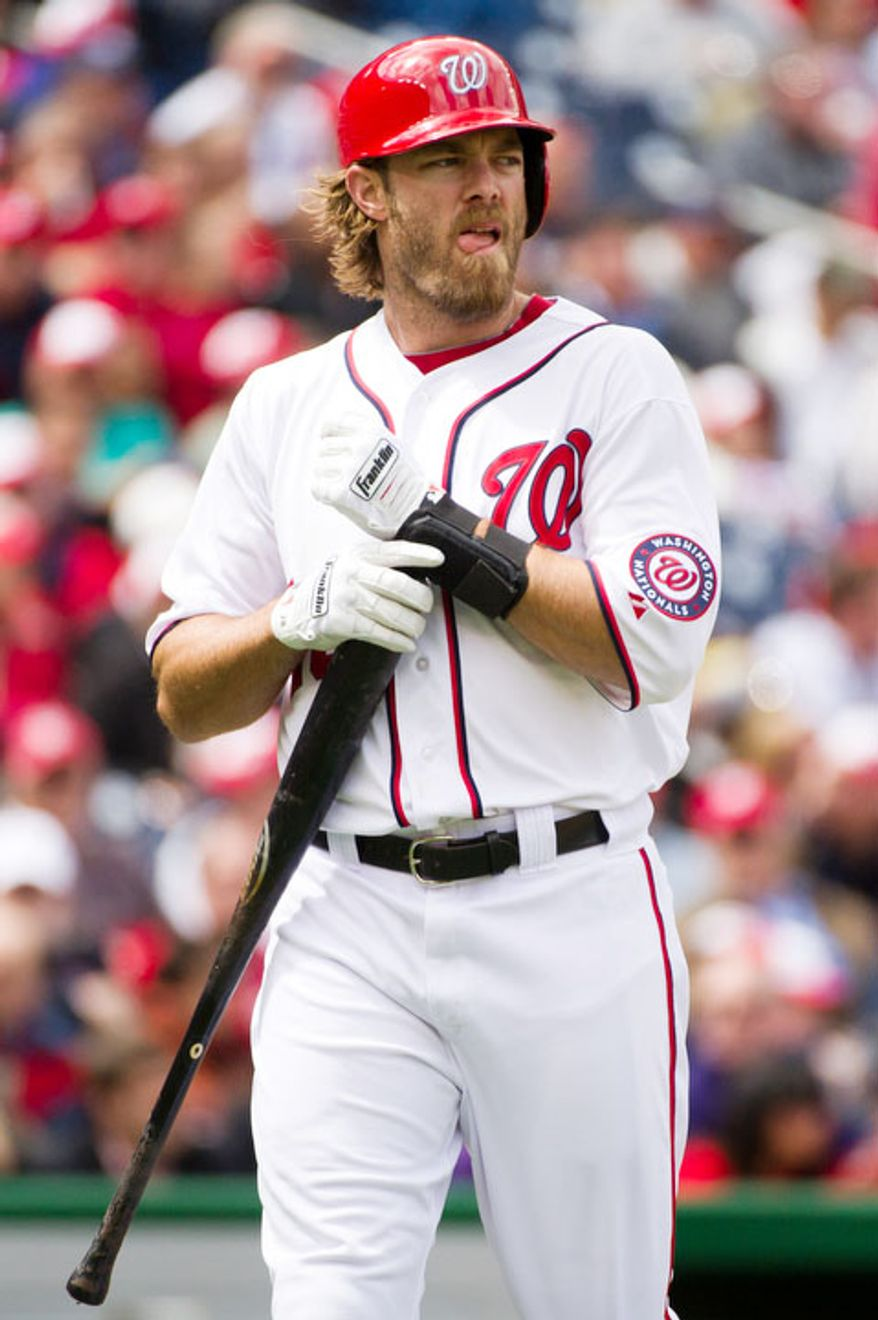 Washington Nationals right fielder Jayson Werth (28) strikes out in the second inning. (Andrew Harnik/The Washington Times)