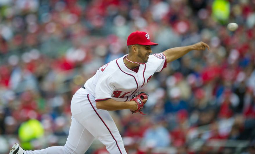 Washington Nationals Gio Gonzalez (47) delivers in the top of the second inning. (Rod Lamkey Jr/The Washington Times)