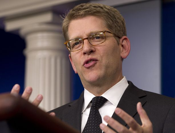White House press secretary Jay Carney speaks during his daily news briefing at the White House in Washington on Thursday, April 12, 2012. (AP Photo/Carolyn Kaster)
