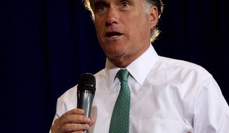 Republican presidential candidate and former Massachusetts Gov. Mitt Romney speaks to a crowd during a campaign event in Warwick, R.I., on April 11, 2012. (Associated Press)