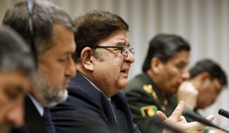 Afghanistan's Minister of National Defense Abdul Rahim Wardak meets April 10, 2012, with Secretary of Defense Leon E. Panetta at the Pentagon. (Associated Press)