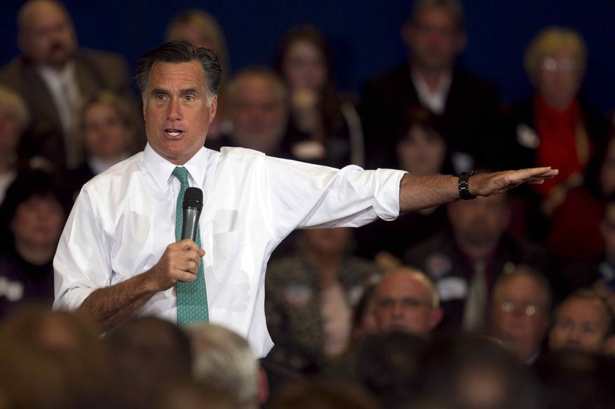 ** FILE ** Republican presidential candidate and former Massachusetts Gov. Mitt Romney speaks to a crowd during a campaign event on April 11, 2012. (Associated Press)