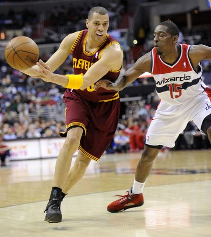 Cleveland Cavaliers guard Anthony Parker had 15 points in his team's 98-89 win over the Washington Wizards on Saturday, April 14, 2012, in Washington. (AP Photo/Nick Wass)