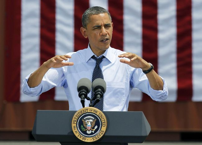 President Obama speaks at the Port of Tampa in Tampa, Fla., on Friday, April 13, 2012. (AP Photo/Chris O'Meara)