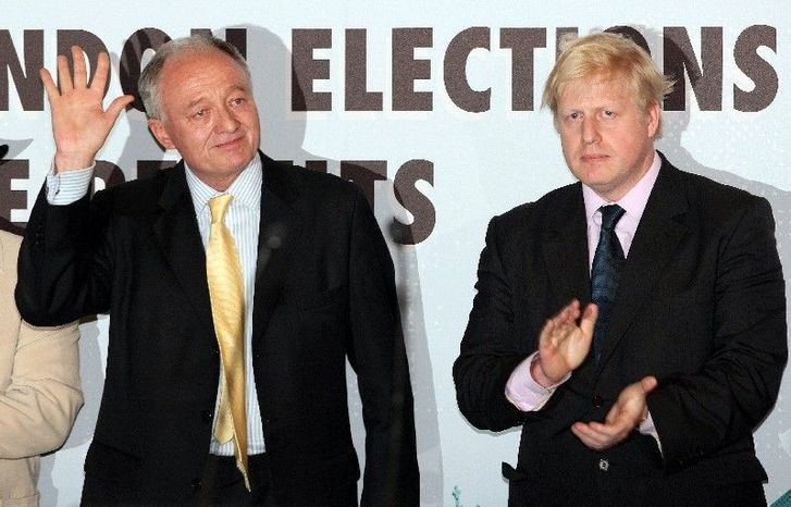 ** FILE ** Ken Livingstone of the Labor Party (left) was mayor of London when he lost the 2008 election to Boris Johnson (right) of the Conservative Party. (Associated Press)