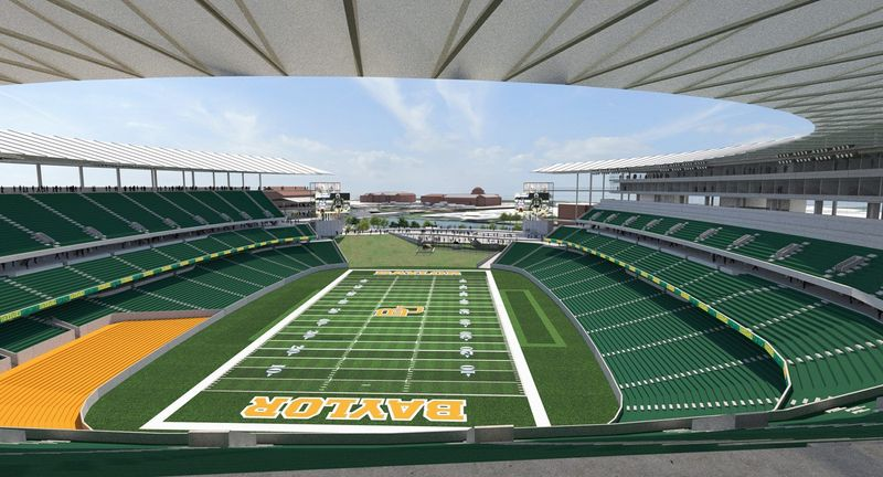 An artist rendering of the proposed Baylor football stadium, which would seat 45,000 and cost about $250 million. Plans are for construction to be complete in 2014. (Populous Inc./Baylor University)