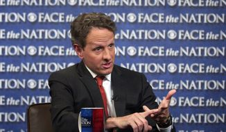 """In this photo taken April 13, 2012, and provided by CBS News April 15, 2015, U.S. Treasury Secretary Timothy Geithner talks during a pretaped interview for CBS's """"Face the Nation"""" in Washington.  (AP Photo/CBS News, Mary F. Calvert)"""