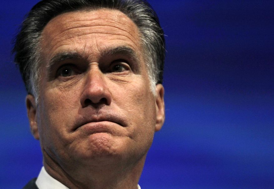 Republican presidential candidate, former Massachusetts Gov. Mitt Romney speaks at the National Rifle Association convention in St. Louis, Friday, April 13, 2012. (AP Photo/Michael Conroy)