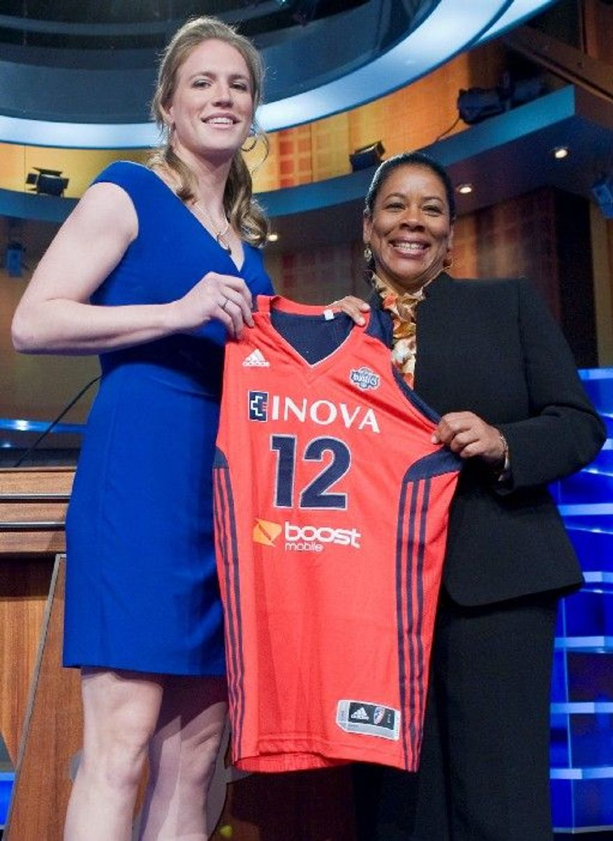 Notre Dame's Natalie Novosel (left) poses with WNBA president Laurel J. Richie after Washington selected her eighth overall. (Associated Press)