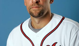 ** FILE ** This is a Feb. 25, 2008 photo showing Atlanta Braves baseball player John Smoltz. Atlanta announced Monday, April 16, 2012, that Smoltz's No. 29 will be retired. Smoltz also will be inducted into the Braves Hall of Fame at Turner Field. The ceremonies will take place June 8. (AP Photo/John Raoux, File)