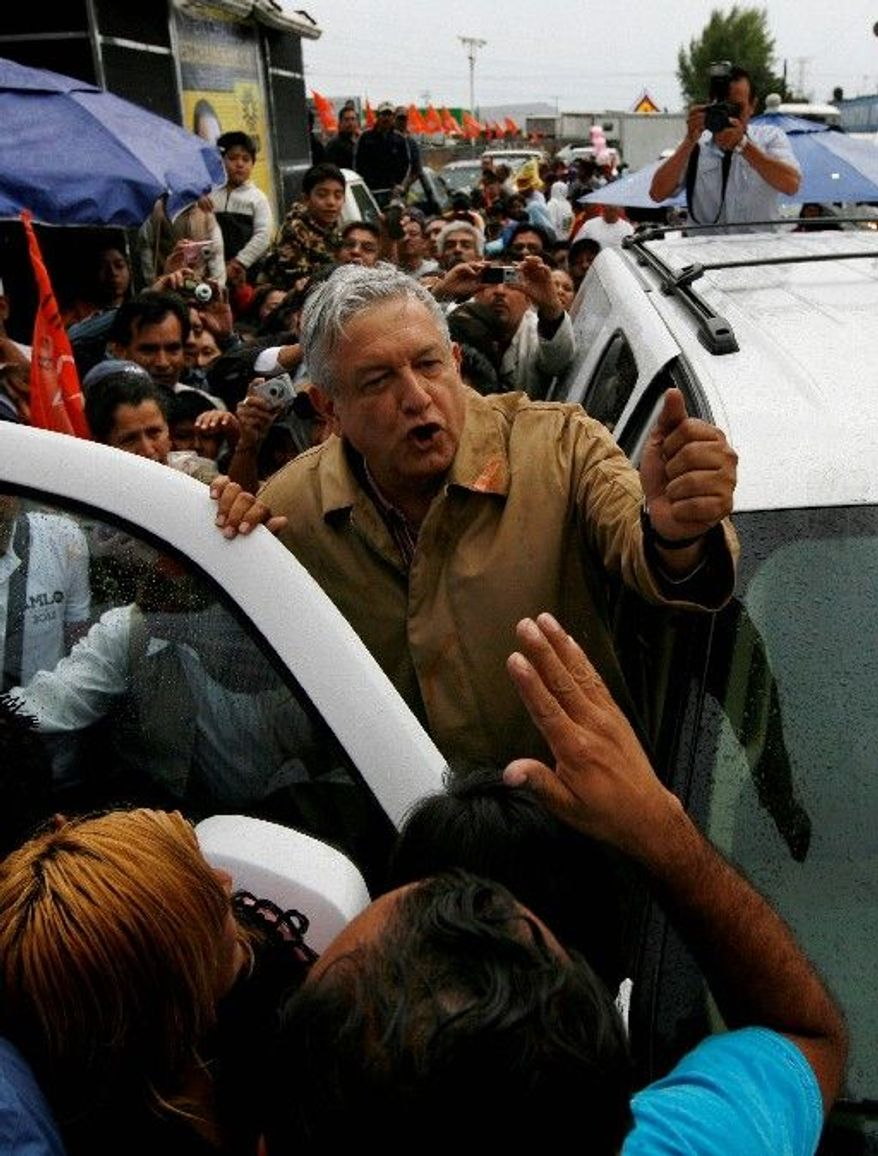 The Democratic Revolution Party's nominee, Andres Manuel Lopez Obrador, trails Josefina Vazquez Mota. (Associated Press)