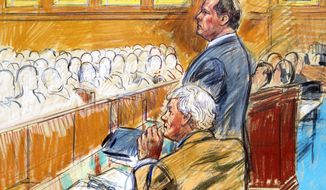 This artist rendering shows former Major League Baseball pitcher Roger Clemens (standing) and his attorney, Rusty Hardin (front left), facing prospective jurors inside federal court in Washington during jury selection in the perjury trial. (Associated Press)