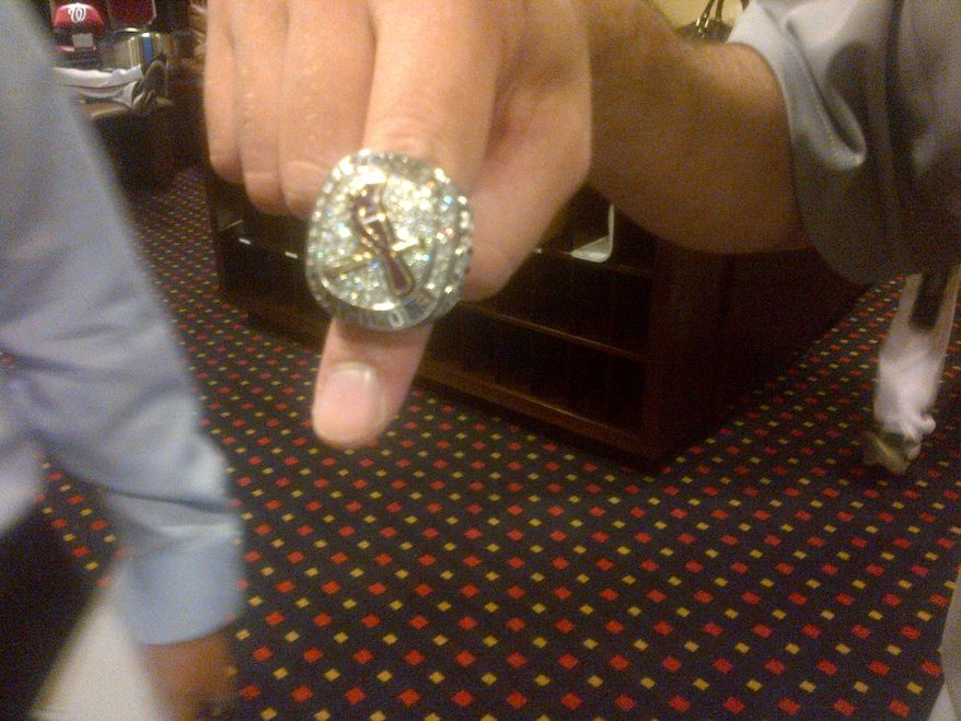 Edwin Jackson's 2011 World Series ring was delivered to him today. Photograph by Amanda Comak