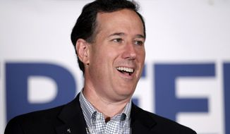 ** FILE ** In this April 2, 2012, file photo, then-Republican presidential candidate, former Pennsylvania Sen. Rick Santorum speaks in Shawano, Wis. (AP Photo/Jae C. Hong, File)
