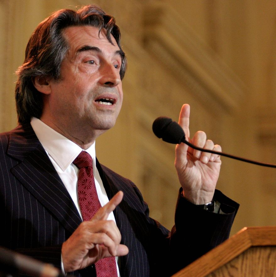 **FILE** Riccardo Muti addresses reporters Monday, June 2, 2008, at the home of the Chicago Symphony Orchestra where he was introduced as its new music director. New Chicago maestro and looking to spread goodwill through music across the globe, Riccardo Muti is preaching a different creed. He says any functioning orchestra has to be a democracy. Muti begins a five-year contract as music director the Chicago Symphony Orchestra in September of the 2010-2011 season, filling a post that has been vacant since Daniel Barenboim left two years ago. (AP Photo / Russel Daniels)