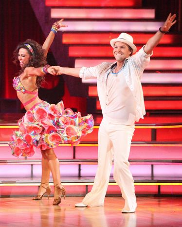 """Singer-songwriter Gavin DeGraw and his partner Karina Smirnoff were eliminated Tuesday from ABC's """"Dancing with the Stars"""" after the judges' scores and viewers' votes were combined. (ABC via Associated Press)"""