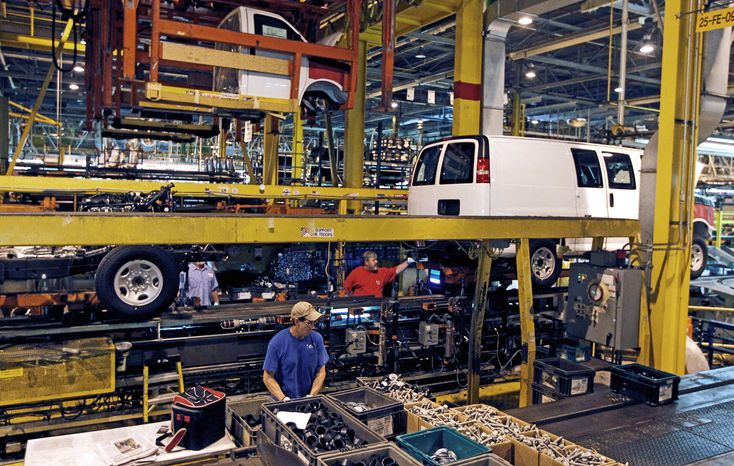 General Motors Co. employees working on a van assembly line in Wentzville, Mo., could see production limited later this year when a shortage of parts becomes a real problem because there aren't enough factories and people left to make them. That would mean fewer vehicles in showrooms for an industry trying to meet growing demand. (Associated Press)