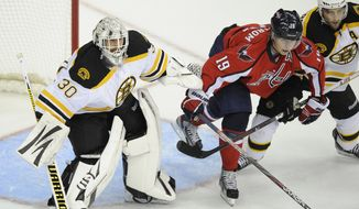 Boston Bruins goalie Tim Thomas and Patrice Bergeron fight for position against Washington Capitals center Nicklas Backstrom during the first period of Game 3 of the first-round playoff series Monday, April 16, 2012, in Washington. (AP Photo/Nick Wass)