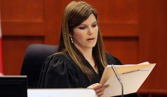 Circuit Judge Jessica Recksiedler holds a status hearing April 13, 2012, in Sanford, Fla., in the second-degree murder case against neighborhood watch volunteer George Zimmerman. (Associated Press/Orlando Sentinel)