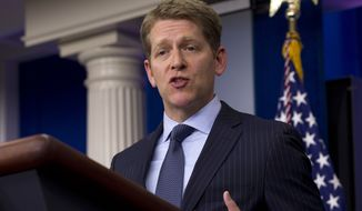 ** FILE ** White House press secretary Jay Carney gives his daily news briefing at the White House in Washington on Tuesday, April 17, 2012. (AP Photo/Carolyn Kaster)