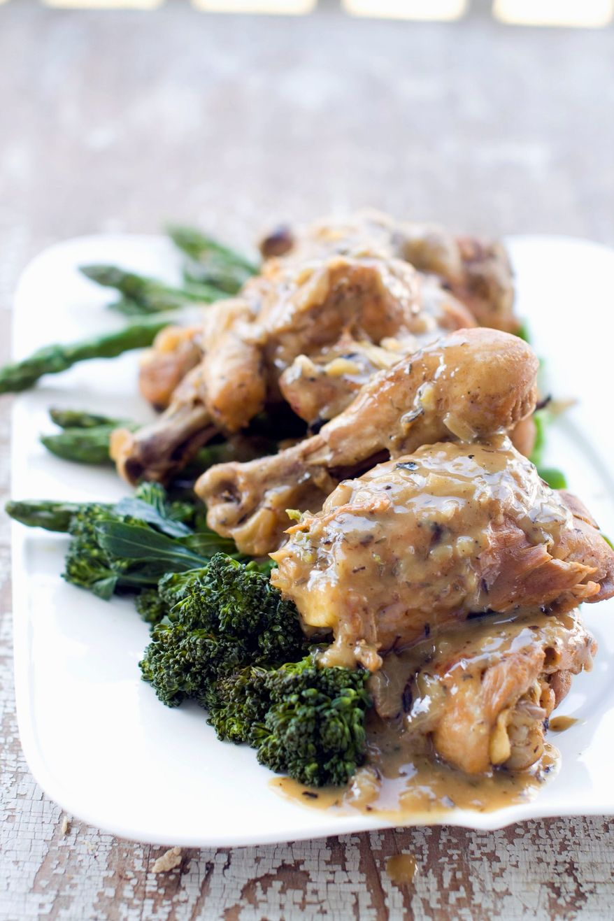 Vegetables keep their flavor and tenderness when cooked lightly in the same pot as braised chicken. (Associated Press)