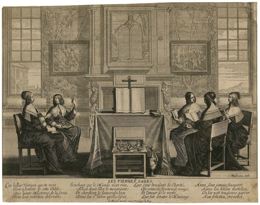 """An Abraham Bosse etching titled """"Les Vierges Sages"""" circa 1640 depicts a French ladies' book circle, how women of quality got together while husbands were away. (Folger Shakespeare Library)"""