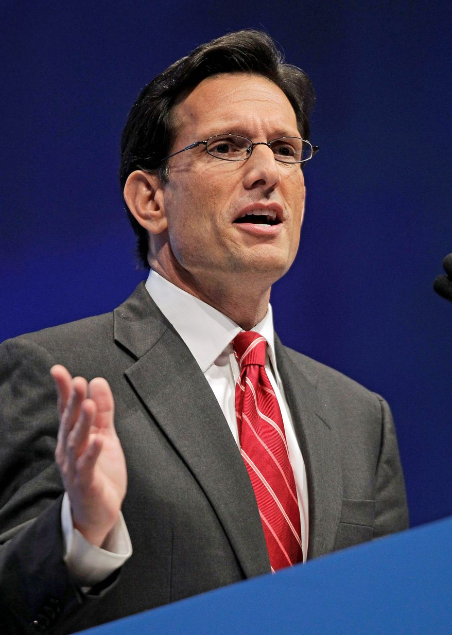**FILE** House Majority Leader Eric Cantor, Virginia Republican, speaks on April 13, 2012, at the National Rifle Association convention in St. Louis. (Associated Press)