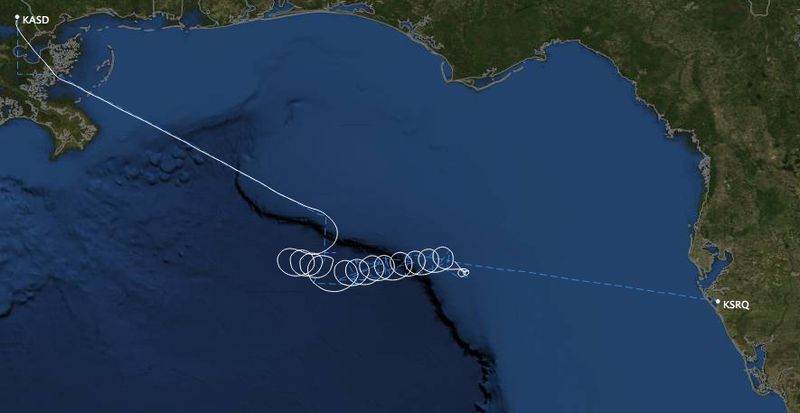This computer-generated image provided by FlightAware, a private aviation flight path service, shows a flightmap of a Cessna that went down April 19, 2012, in the Gulf of Mexico, some 120 miles (190 kilometers) west of Tampa, Fla., said Petty Officer Elizabeth Boderland with the Coast Guard in New Orleans. (Associated Press/FlightAware)
