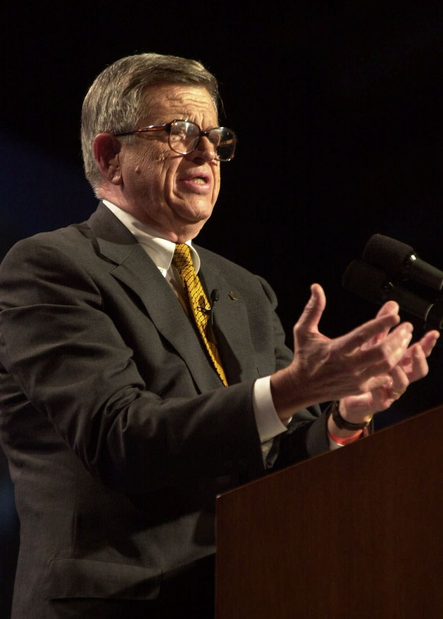 ** FILE ** In a Aug. 2, 2000, file photo, onetime Watergate felon-turned-prison evangelist Charles Colson bears testimony at a conference for 10,000 evangelical Protestants at Amsterdam's RAI congress center. Colson is in critical condition following brain surgery in a hospital in northern Virginia, according to his organization. (AP Photo/Peter Dejong, File)