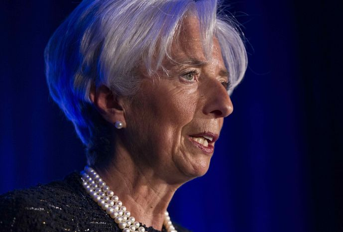** FILE ** International Monetary Fund (IMF) Managing Director Christine Lagarde speaks at the Associated Press Annual Meeting in Washington, Tuesday, April, 3, 2012. (AP Photo/J. Scott Applewhite)