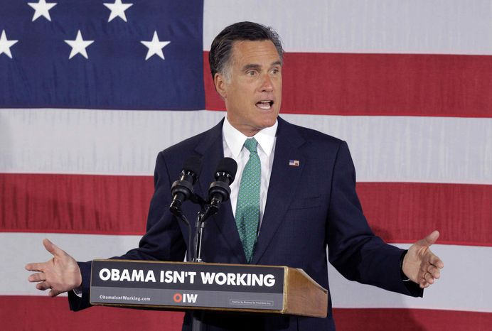 Republican presidential candidate, former Massachusetts Gov. Mitt Romney speaks at a campaign stop in Charlotte, N.C., Wednesday, April 18, 2012. (AP Photo/Chuck Burton)