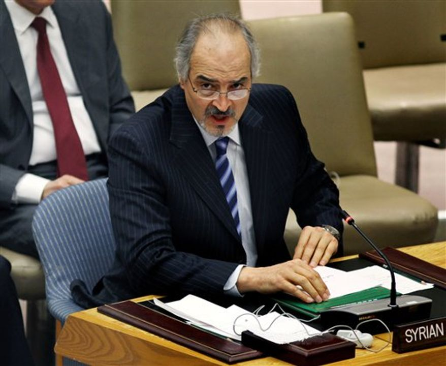 Syrian Ambassador to the United Nations Bashar Ja'afari addresses the United Nations Security Council, Saturday, April 14, 2012, at U.N. headquarters after the council cast a unanimous vote authorizing the deployment of the first wave of U.N. military observers to monitor a cease-fire between the Syrian government and opposition fighters. (AP Photo/Craig Ruttle)