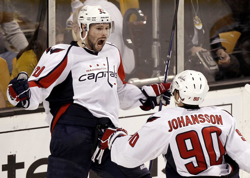 Washington Capitals' Troy Brouwer celebrates his winning goal with teammate Marcus Johansson during the third period of Washington's 4-3 win over the Boston Bruins in Game 5 of the first-round series in Boston on Saturday, April 21, 2012. (AP Photo/Winslow Townson)