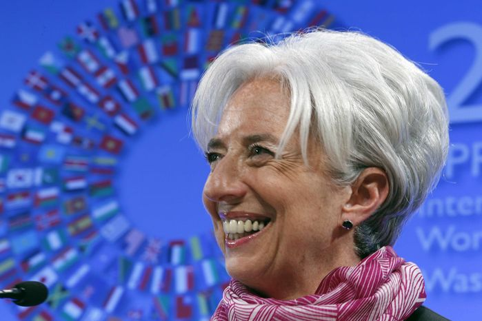 IMF Managing Director Christine Lagarde speaks during a news conference in the International Monetary Fund Spring Meetings at the IMF headquarters in Washington on Saturday, April, 21, 2012. (AP Photo/Jose Luis Magana)