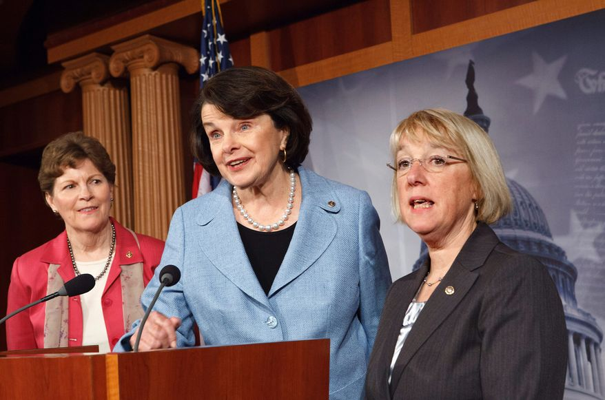 "Republican opposition to reauthorizing the Violence Against Women Act in its current form will ""absolutely"" be used against them as a campaign issue, according to (from left) Sen. Jeanne Shaheen, of New Hampshire, Sen. Dianne Feinstein, of California, and Sen. Patty Murray, of Washington, all Democrats. (Associated Press)"