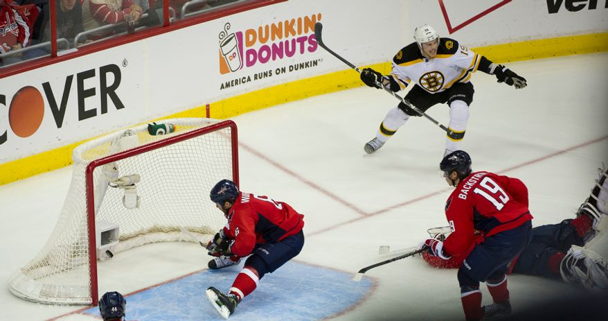 Boston Bruins center Tyler Seguin (19) celebrates after scoring the winning goal in overtime against the Washington Capitals in Game 6 at Verizon Center in Washington, D.C., on April 22, 2012. The Bruins defeated the Capitals 4-3, sending the series back to Boston for a Game 7. (Rod Lamkey Jr./The Washington Times)