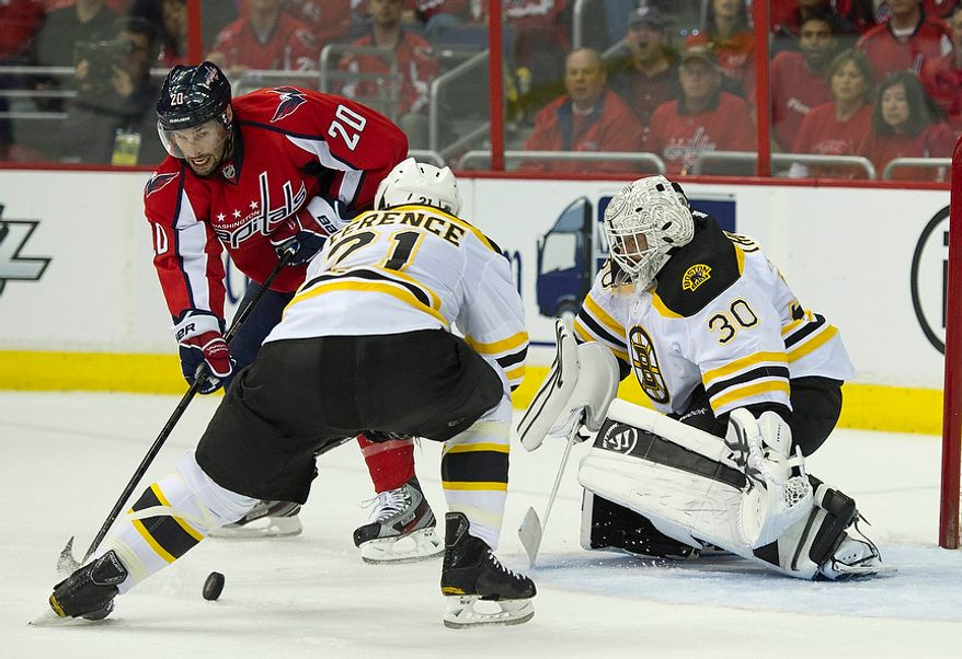 Troy Brouwer (20) of the Washington Capitals takes a shot against the Boston Bruins in the first period of the Eastern Conference Quarterfinals Game 6 at the Verizon Center in Washington, D.C., Sunday, April 22, 2012. (Rod Lamkey Jr/The Washington Times)