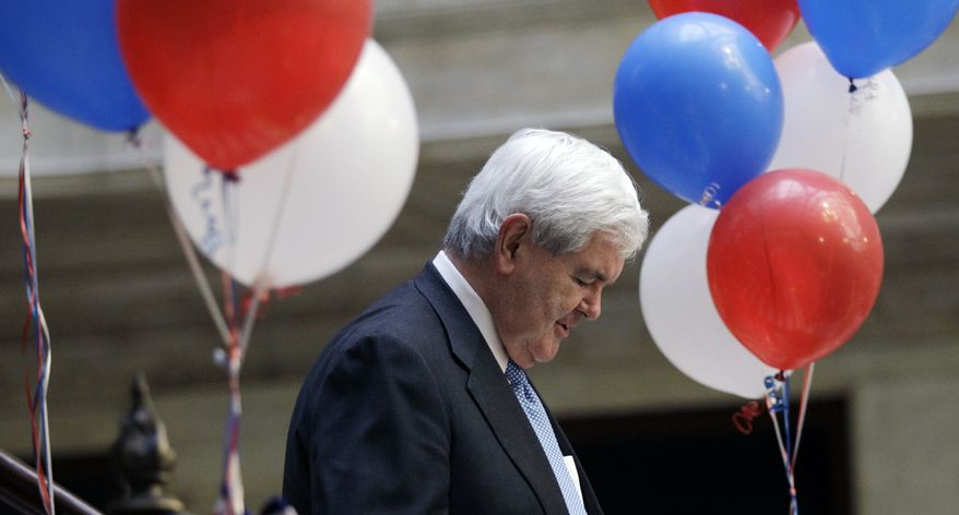 Republican presidential candidate and former House Speaker Newt Gingrich arrives April 20, 2012, at a campaign stop in Buffalo, N.Y. (Associated Press)